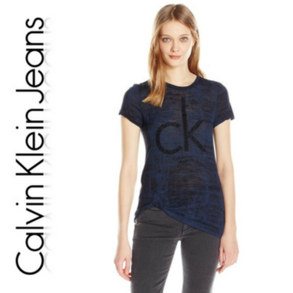 2ef2e968955746 Flocked Print Side Tie T Shirt Calvin Klein Jeans